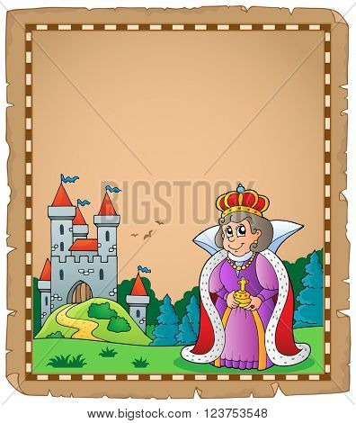 Parchment with queen near castle 1 - eps10 vector illustration.