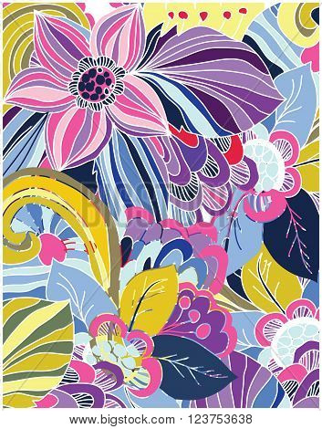 abstract vector colorful background with big flowers print on the cloth, sukkah, clothing,