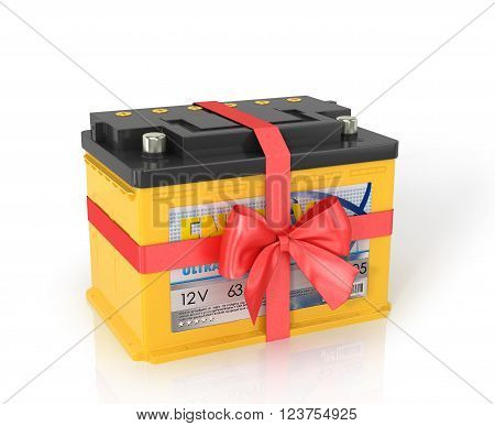 Automobile Batteries shrouded red ribbon with a bow isolated white background.