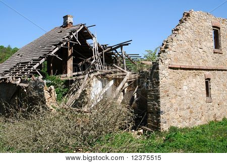Destroyed house as war aftermath