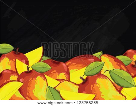 Mango on chalkboard background. Mango composition, plants and leaves. Organic food. Summer fruit. Fruit background for packaging design.