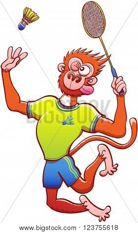 Athletic red monkey with yellow shirt and blue shorts while grabbing a racket, staring at the shuttlecock and preparing for a vigorous vertical jump smash in a badminton match