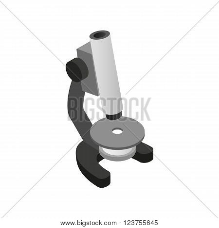 Microscope icon in isometric 3d style on a white background