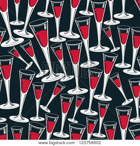 Classic champagne glasses vector seamless pattern alcohol beverage theme backdrop. Lifestyle graphic design elements. Relaxation and leisure idea.