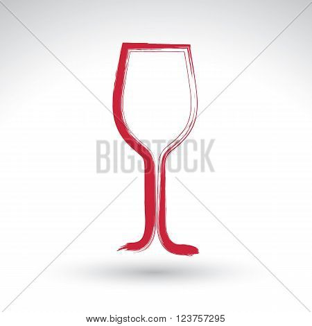 Hand drawn simple empty wineglass brush drawing tulip goblet icon hand-painted glass of wine isolated on white background.