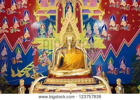 The golden buddha image in thai temple