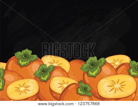 Persimmon on chalkboard background. Persimmon composition, plants and leaves. Organic food. Summer fruit. Fruit background for packaging design.