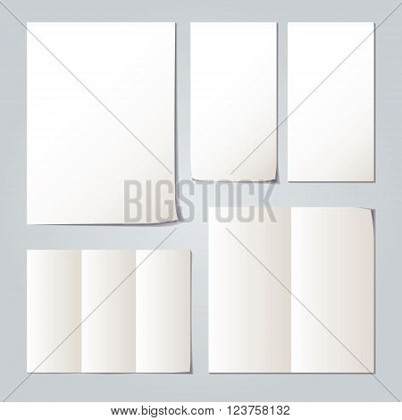 White folded paper set collections and element for attaching paper paperclip. Vector illustration.