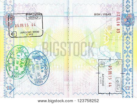 Passport stamps of Croatia, Emirates and Hungary