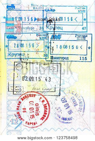 Passport with stamps of Russia, Macedonia and Turkey