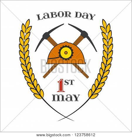 May Day. May 1st. Labor Day Icon with two crossed picks and helmet over white . Element for poster, greeting card or brochure template, logo, symbol of work and labor, vector icon