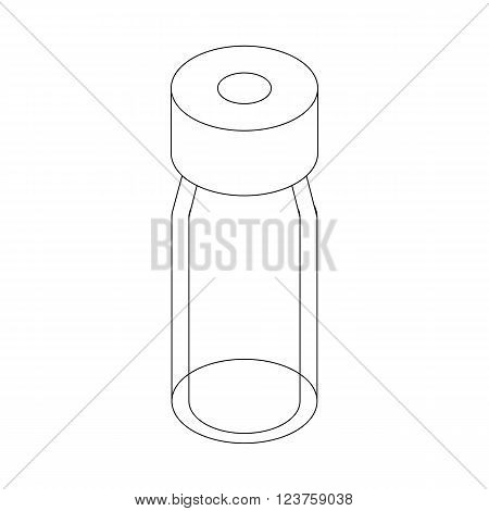 Medical glass bottle icon in isometric 3d style isolated on white background