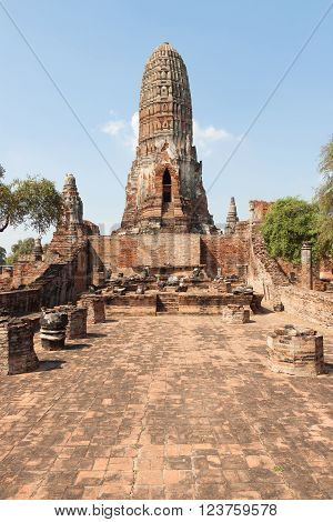 Biggest ancient pagoda at the thai temple