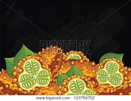 Nods on chalkboard background. Nods composition, plants and leaves. Organic food. Summer fruit. Fruit background for packaging design.