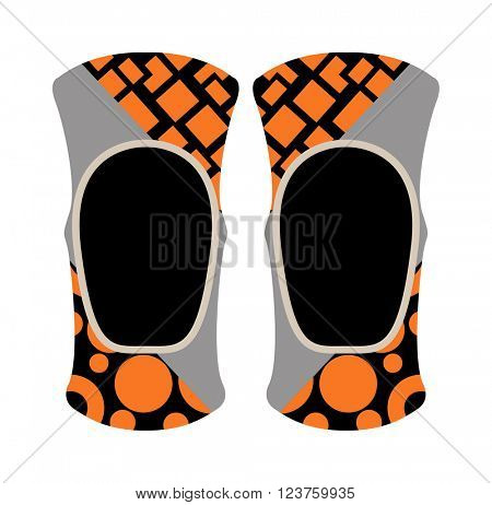 Pair of knee sport protectors activity equipment flat vector.