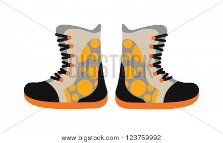 Camping sport walking boots in flat style vector.