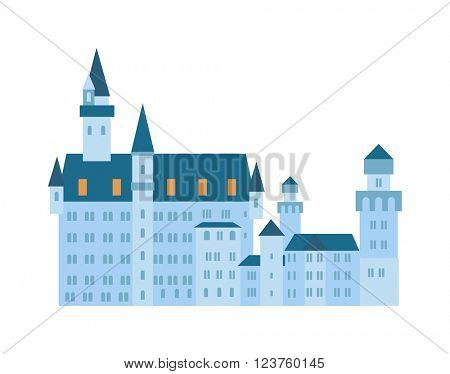 Scenic medieval city walls castle old tower vector.