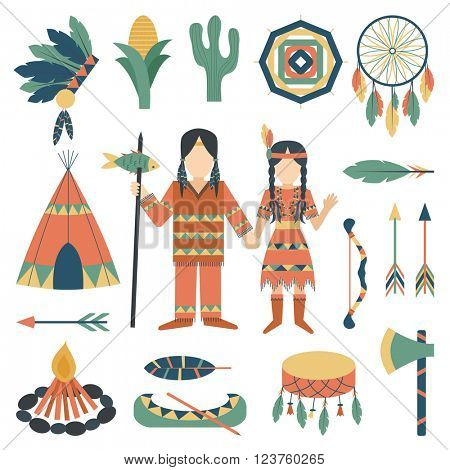 Indians icons traditional travel asia temple religion ornament vector.
