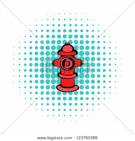 Fire hydrant icon in comics style on a white background