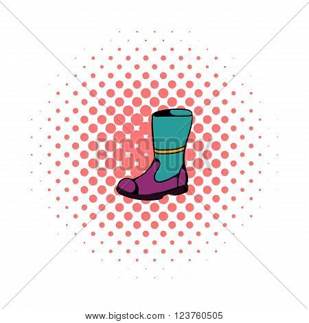 Firefighter boots icon in comics style on a white background