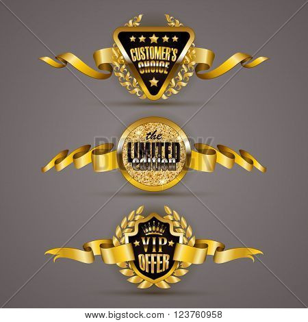 Set of luxury gold badges with laurel wreath, crown, ribbons. Customer s choice, limited edition, vip offer. Promotion emblems, icons, labels, medal, blazons for web, page design. Illustration EPS 10.