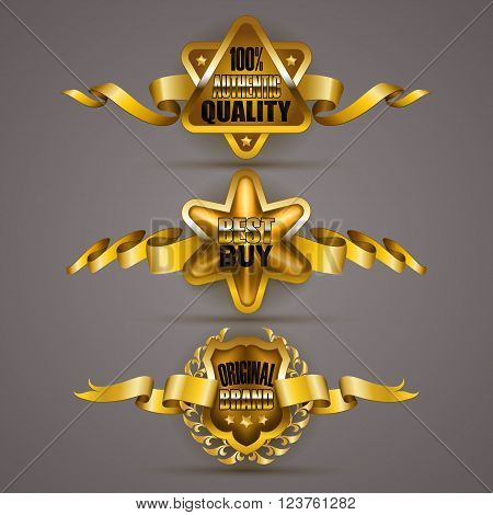 Set of luxury gold badges with laurel wreath, crown, ribbons. 100 percent authentic quality, best buy, original brand. Promotion emblems, icon, label, medal, blazon for web, page design. Illustration EPS 10.