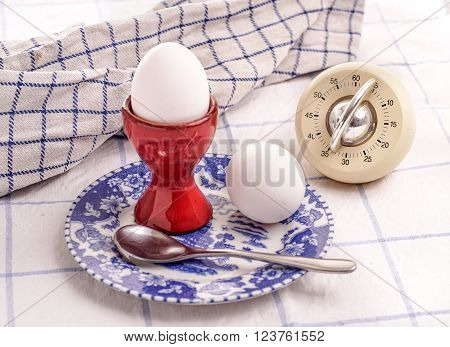 morning eggs for breakfast cooked with egg-timer