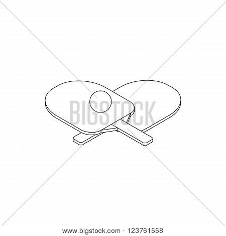 Table tennis icon in isometric 3d style isolated on white background. Two rackets and ball for playing table tennis