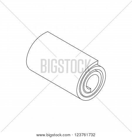 Mat for fitness icon in isometric 3d style on white background. Yoga mat icon