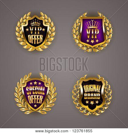 Set of luxury golden badges with laurel wreath, ribbons. Vip, best, special offer, original brand. Promotion emblems, icons, labels, medals, blazons for web, page design. Vector illustration EPS 10.
