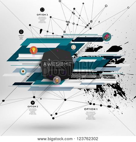 Geometric Polygonal Elements. Scientific Future Technology Concept. Template with Icons and Options. Infographic Elements. Design Layout for Business Cards, Websites, Presentations, Flyers and Posters