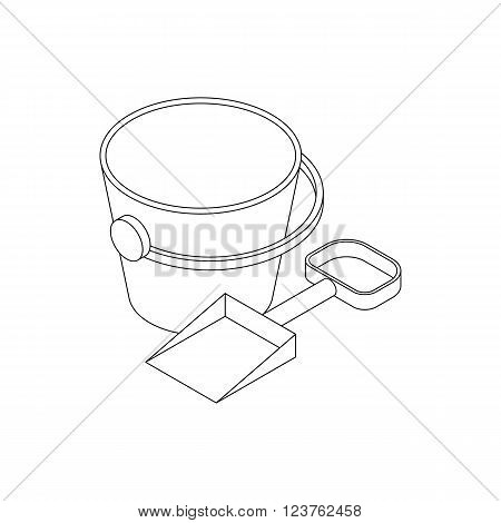 Pail and shovel icon in isometric 3d style isolated on white background