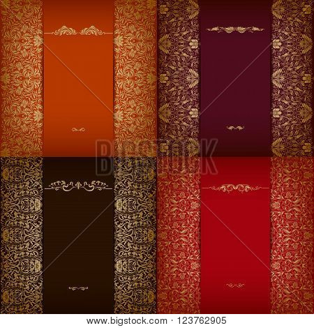 Set of elegant templates with golden floral elements, gold ornate seamless pattern on background. Luxury greeting, gift card, menu for restaurant, cafe in vintage style. Vector illustration EPS 10.