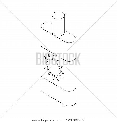 Sun lotion icon in isometric 3d style isolated on white background. Sunscreen lotion icon