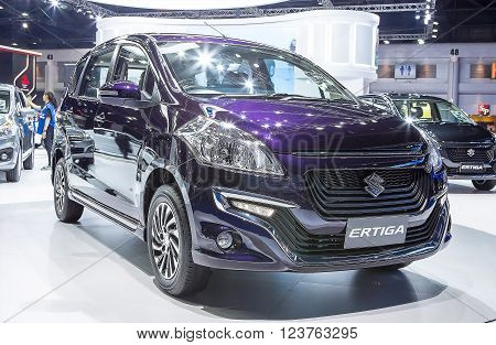 Bangkok - March 22 : blue Suzuki series Ertiga - in display at The 37th Bangkok international Motor Show 2016 on March 22, 2016 in Bangkok Thailand