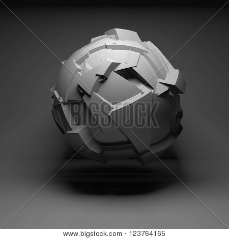 Abstract Flying Spherical Object 3D Art