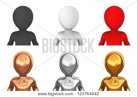 3d avatars. People from gold bronse silver red white black