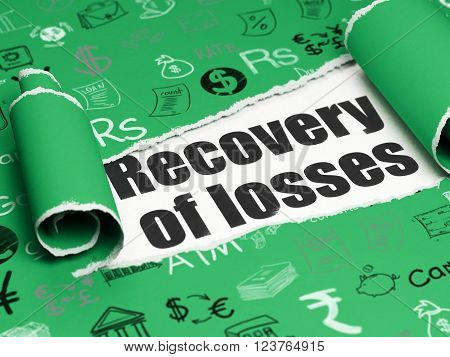 Currency concept: black text Recovery Of losses under the piece of  torn paper