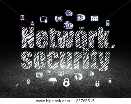Security concept: Network Security in grunge dark room