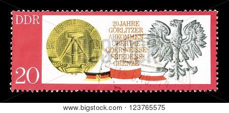 GERMAN DEMOCRATIC REPUBLIC - CIRCA 1970 : Cancelled postage stamp printed by German Democratic Republic, that shows Gorlitzer Treaty.