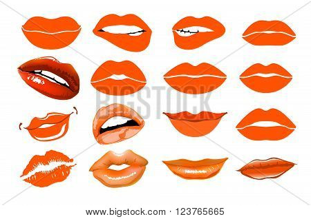 Orange Lips. Collage, Lips. Set Of Isolated Women Lips On Light Background. Vector Illustration. Lip