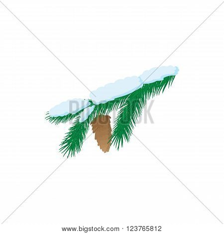 Pine branch icon in cartoon style isolated on white background. Pine branch with snow and cone