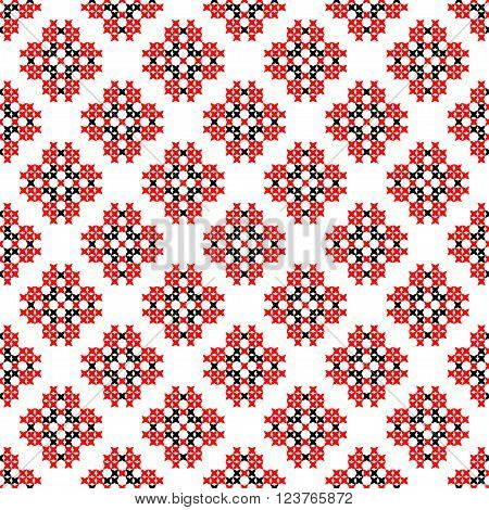 Seamless texture with red and black abstract patterns for tablecloth.Embroidery.Cross stitch.