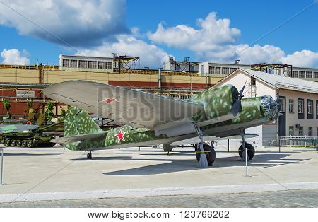 VERKHNYAYA PYSHMA RUSSIA - JUNE 11 2015: Soviet High-speed tactical bomber ANT - 40 made in 1934 - exhibit of the Museum of military equipment.