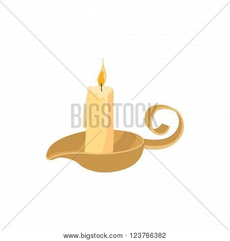Candle icon in cartoon style isolated on white background. Burning candle with a candle holder