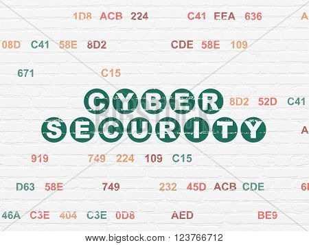 Protection concept: Cyber Security on wall background