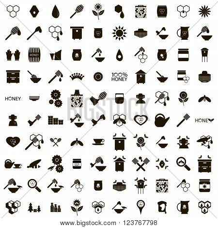 100 Apiary icons set use for any design