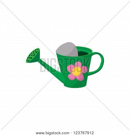 Watering can icon in cartoon style isolated on white background. Green watering can with a flower