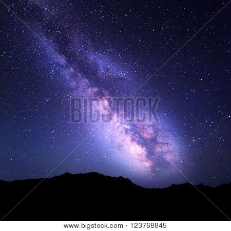Mountain Landscape With Milky Way. Night Sky With Stars