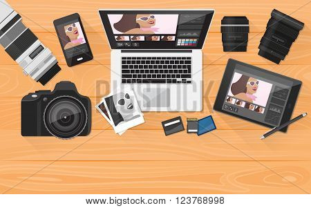 Professional photographer equipment on a desk photo editing and shooting concept banner with copy space